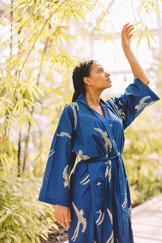 Cotton Kimono Robe Womens 100/% Light Organic Hand-Printed Yukata Bathrobe