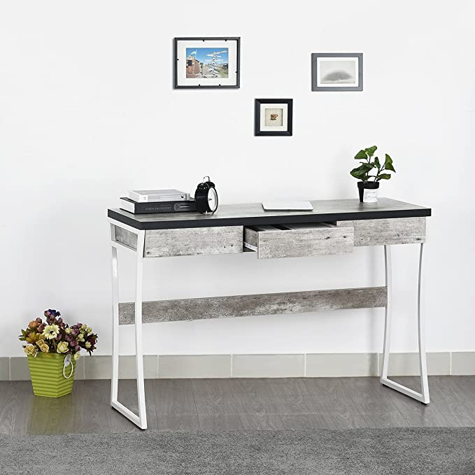 Mesa tipo consola para entrada con cajones de madera y patrón de mármol de Fanilife