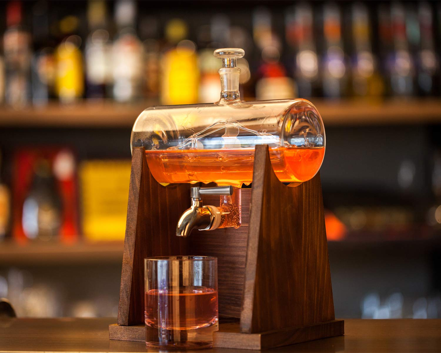 Jillmo Whiskey Decanter Set with 2 Glasses - 1250ml & 42 oz Lead Free Barrel Ship Dispenser with Detachable Wooden Holder Gift for Liquor, Scotch, Bourbon, Vodka, Whisky, Rum & Alcohol by Jillmo (Image #7)