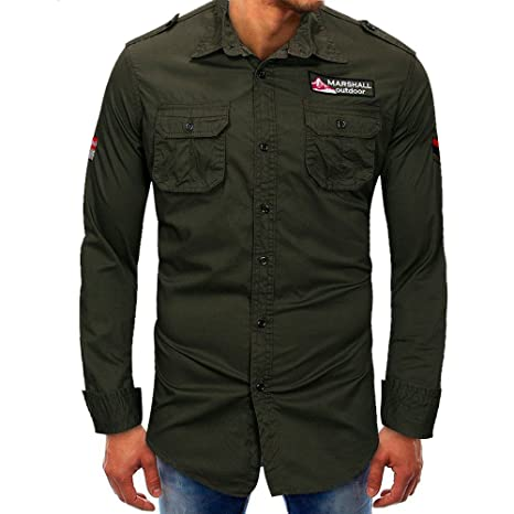 Hombre camisa manga larga Otoño,Sonnena ❤ Camisa de manga larga para hombres Beefy