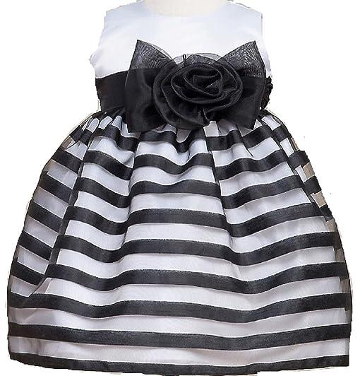 Amazon dreamer p little baby girls infant elegant striped little baby girls infant elegant striped large bow flowers girls dresses black white size s mightylinksfo