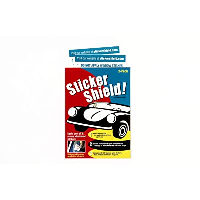 Sticker Shield - Windshield Sticker Applicator for Easy Application, Removal and Re-Application from Car to Car - 1 Pack of 4 inch x 6 inch Sheets (2 Sheets Total): Automotive