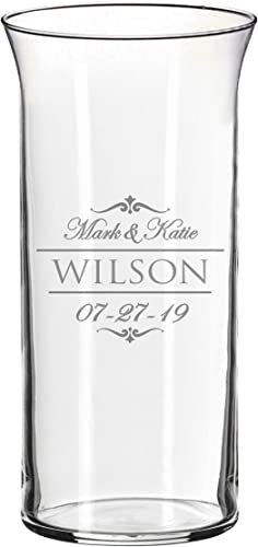 Personalized Glass Flower Vase Table Centerpiece for Wedding – Custom Engraved Couples, Anniversary, Engagement Gift