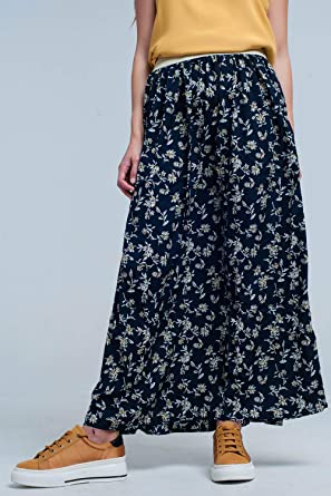 Q2 Falda Larga Azul Marino con Flores, L Mujeres: Amazon.es: Ropa ...
