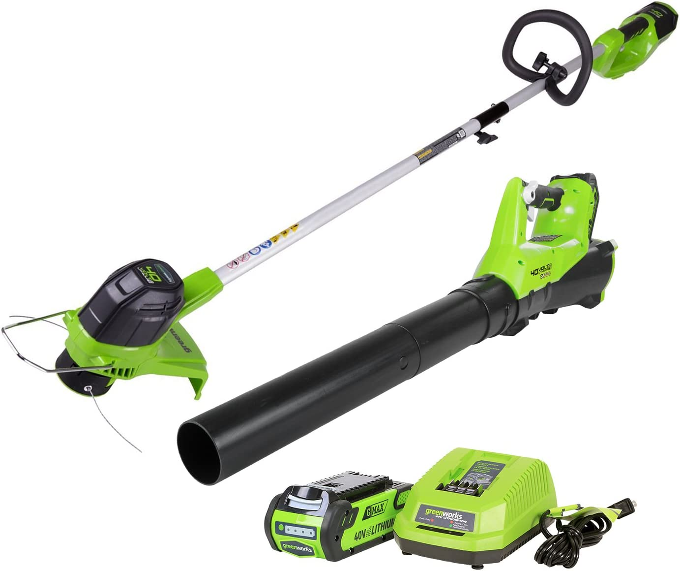 Greenworks STBA40B210 G-MAX 40V Cordless String Trimmer and Leaf Blower Combo Pack, 2.0Ah Battery and Charger Included : Garden & Outdoor