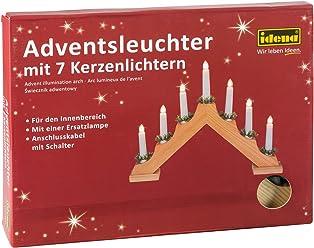 Idena 8582068 - Adventsbogen mit 7 Kerzenlichtern, natur, ca. 30 x 40 cm