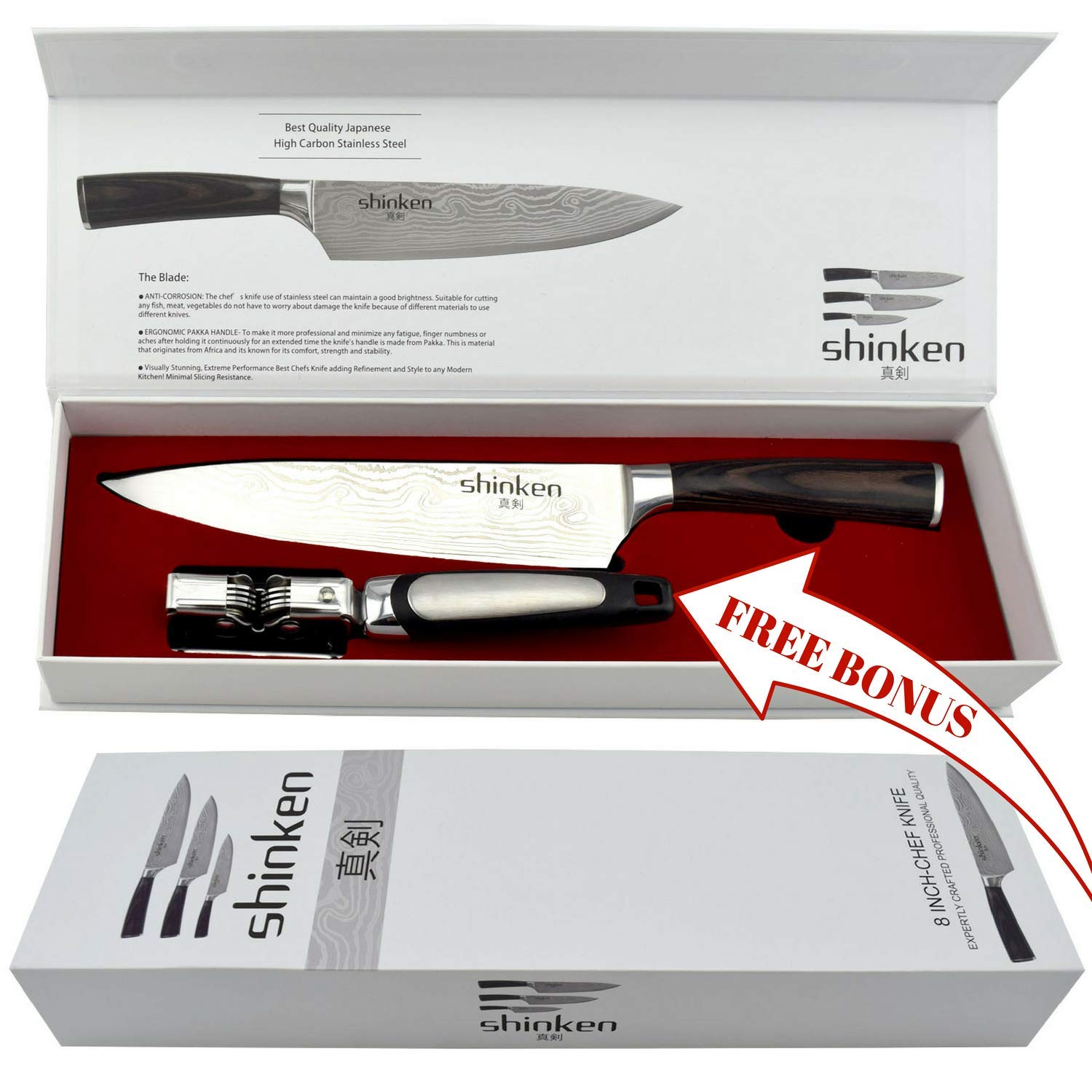 Professional Kitchen Chef's Knife 8 Inch,Stainless Steel High Carbon Sharp Blade,For Cutting Meat,Chopping, Slicing, Carving Food & More | BONUS:knife-sharpening tool,Perfect Gift Idea,By Shinken