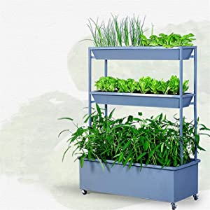 Window Box Planters Raised Garden Bed 3 Tier Planter Boxes with Wheels, Elevated Freestanding Planter, 3 Growing Container, for Vegetable, Herb, Flower for Windowsill, Patio, Garden