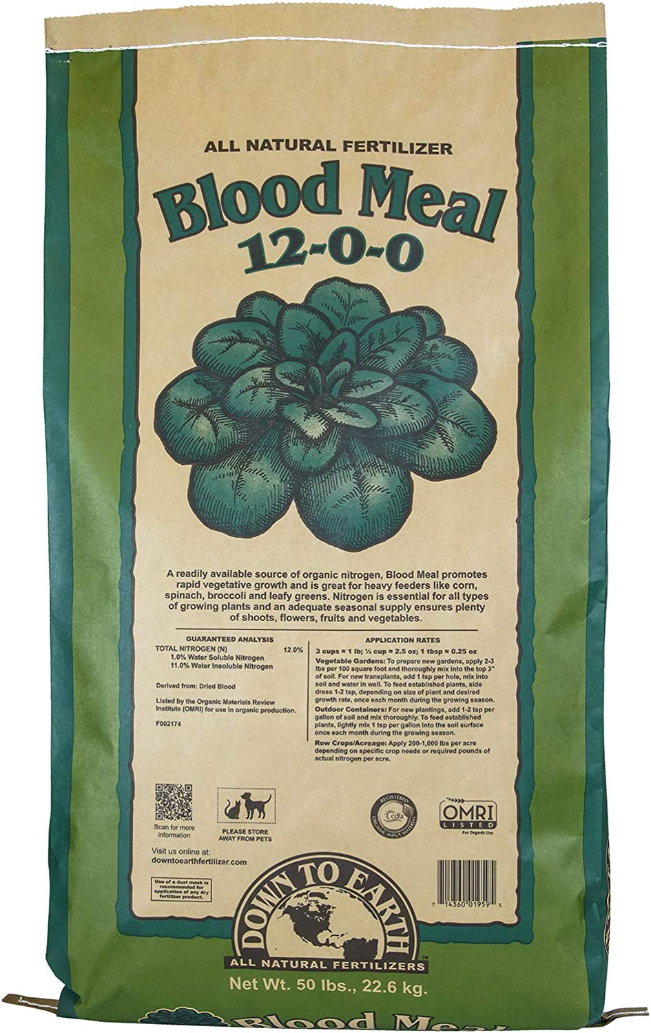Down To Earth Blood Meal Fertilizer Mix 12-0-0, 20 lb