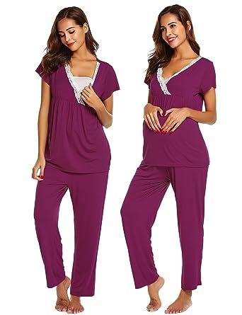 89ae238053fe7 Ekouaer Womens Maternity Nursing Pajamas Set Soft Breastfeeding Pjs  Pregnancy Sleepwear Set,Cherry Red,