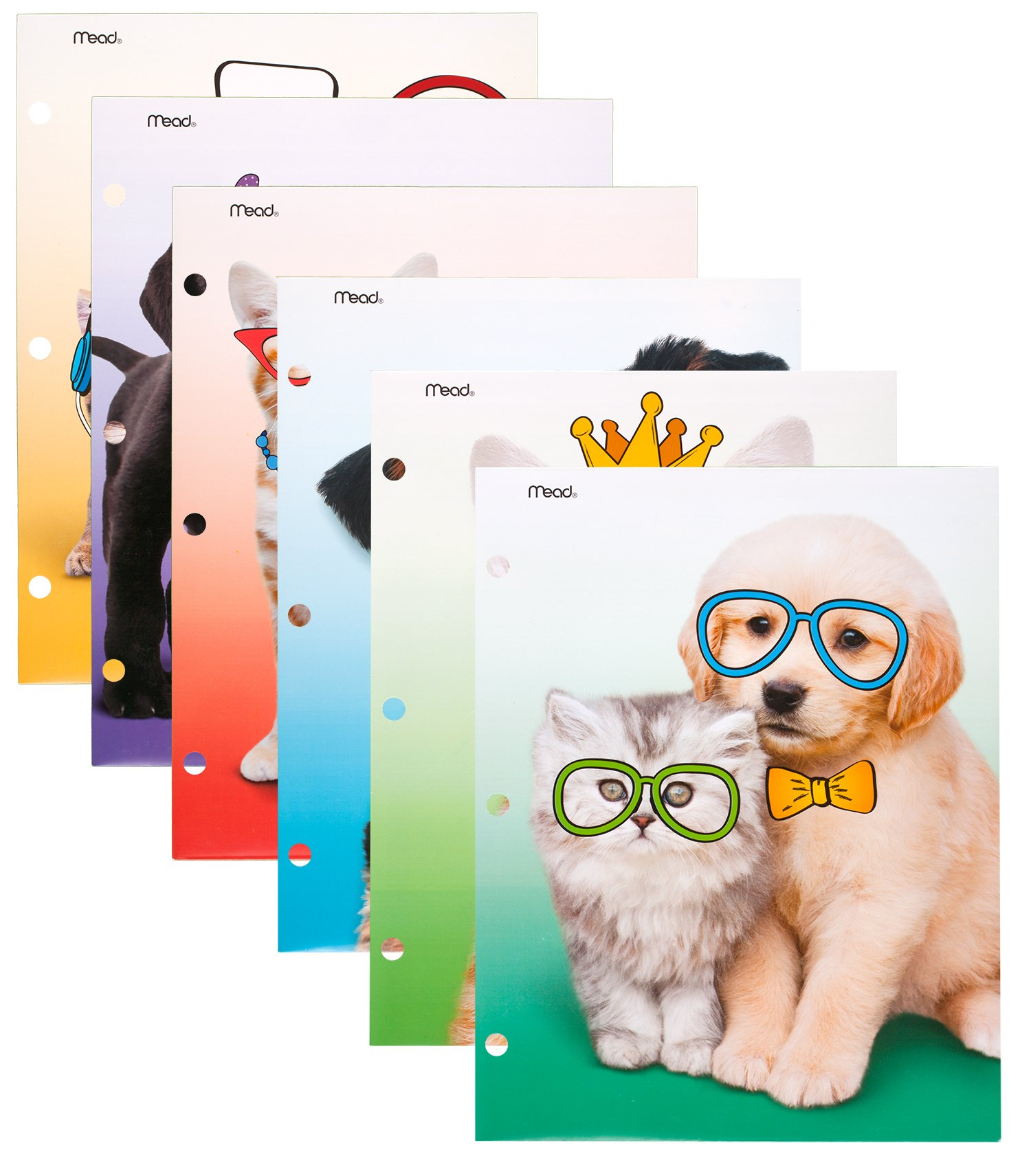 Mead 2-Pocket Folders, Folders with Pockets, 12'' x 9-3/8'', Purrs & Grrrs, Assorted Designs, 6 Pack (73869) by Mead