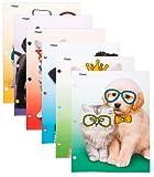 """Mead Pocket Folders, 2-Pocket, 12"""" x 9-3/8"""", Purrs & Grrrs, Assorted Designs, 6 Pack (73869)"""