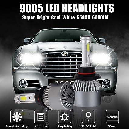 Amazon Com Led Headlight Conversion Kit 9005 Cob Chips 2 Pcs