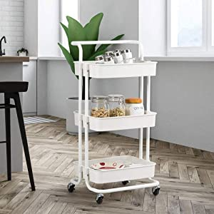 3-Tier Metal Rolling Cart Metal Organization Cart with Handle Lockable Wheels Casters for Office/Home/Kitchen/Bathroom (42x35x87cm)