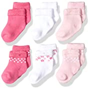 Gerber Baby Girls 6 Pair Socks, Lil' Flowers, 0-3 Months