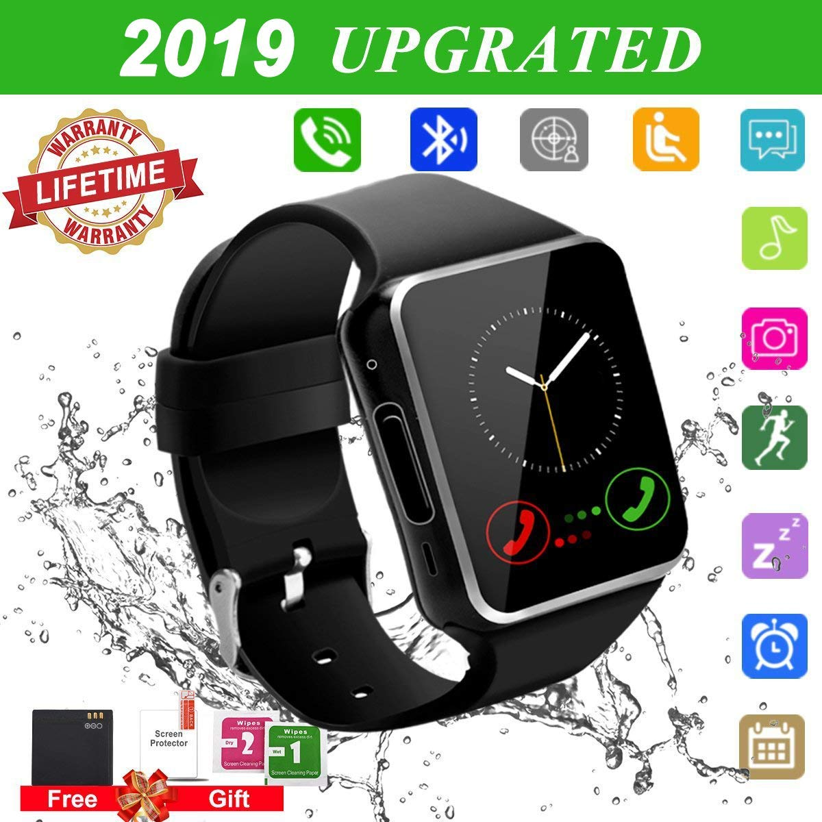 Smartwatch Android, Bluetooth Smart Watch, Smart Orologio Cellulare Android, Impermeabile Orologio Intelligente con Camera SIM Card Slot Per Phone X XS XR 8 7 6 6s 5 ios Samsung Huawei Uomo Donna product image