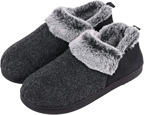 LADIES WIDE FIT SLIPPERS MEMORY FOAM FUR THERMAL SLIP ON WARM CLOG SHOES SIZE