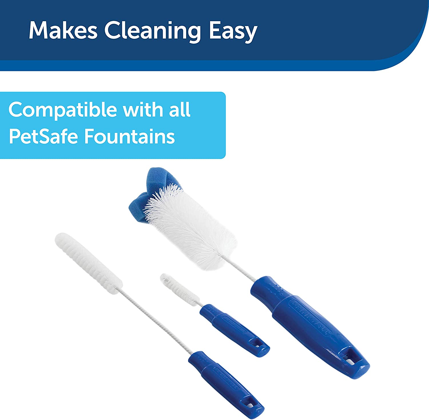 Pet Supplies : PetSafe Drinkwell Dog and Cat Water Fountain Cleaning Kit, 3 Brushes, blue, 1 3/8', 1 5/8', 2' brushes : Pet Self Waterers :
