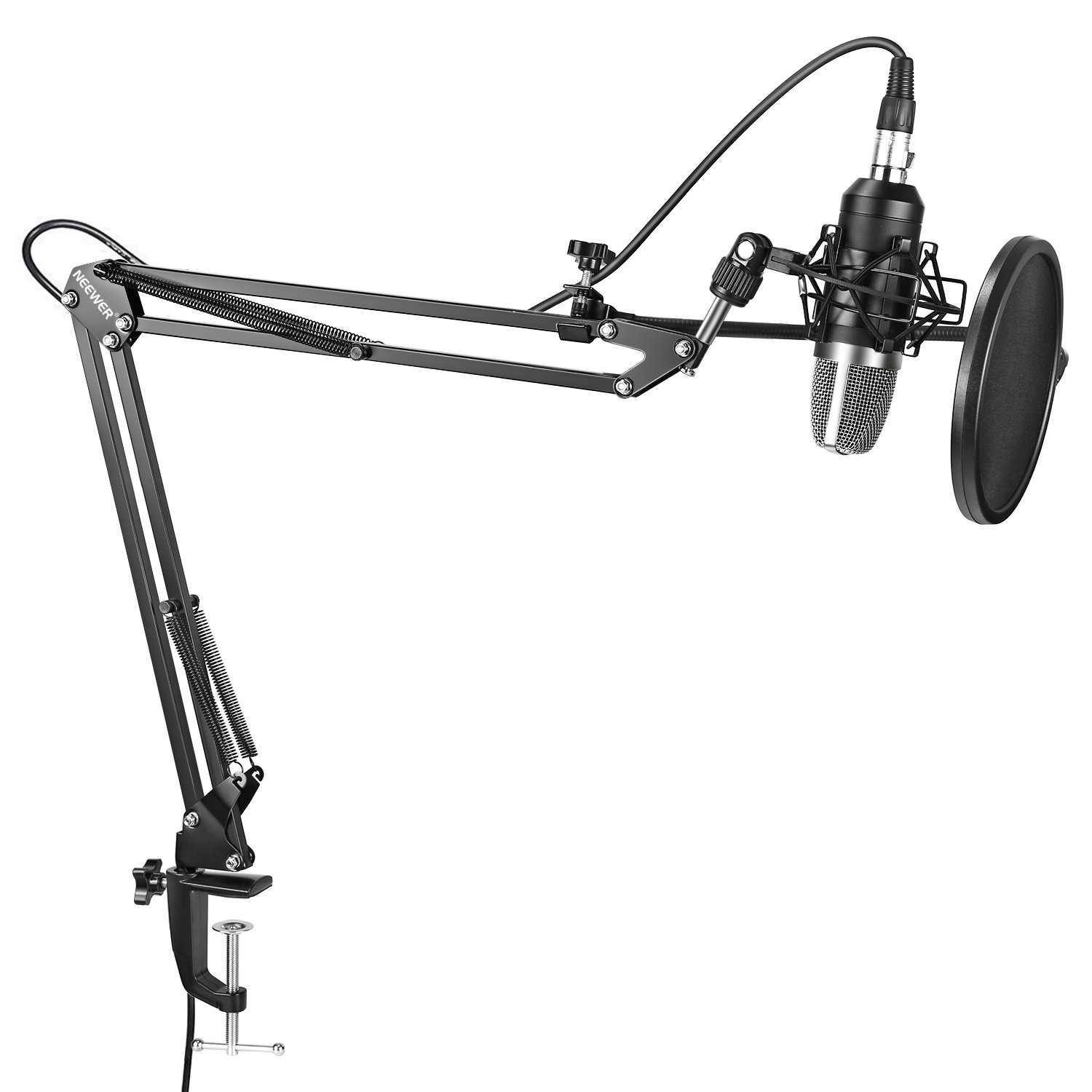 Neewer NW-7000 Professional Studio Condenser Microphone and Adjustable Suspension Scissor Arm Stand with Shock Mount, Pop Filter and Table Mounting Clamp Kit for Broadcasting and Sound Recording