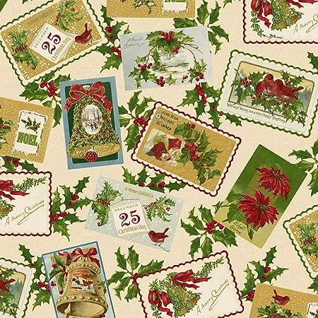 christmas fabric 05 metre win73 vintage christmas labels fabric christmas fabric by - Vintage Christmas Fabric