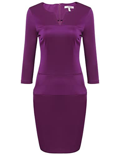 ANGVNS Women Retro 3/4 Sleeve V Neck Business Cocktail Pencil Dress with Pockets