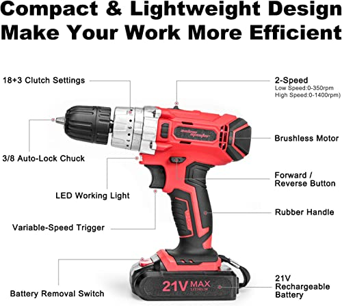 SALEM MASTER Cordless Drill Driver, 21V MAX Impact Hammer Drill Set with 3 8-Inch Metal Chuck, Variable Speed, 27pcs Accessories, 2pcs 1.5Ah Battery Pack, Compact Drill for Drilling Wall, Wood, Metal
