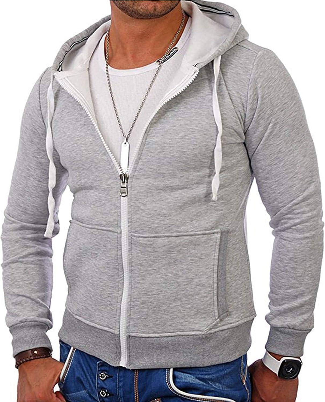 Mens Fashion Full-Zip Fleece Hoodies- Solid Color Zip up Hoodie Sweatshirts Sports Jackets
