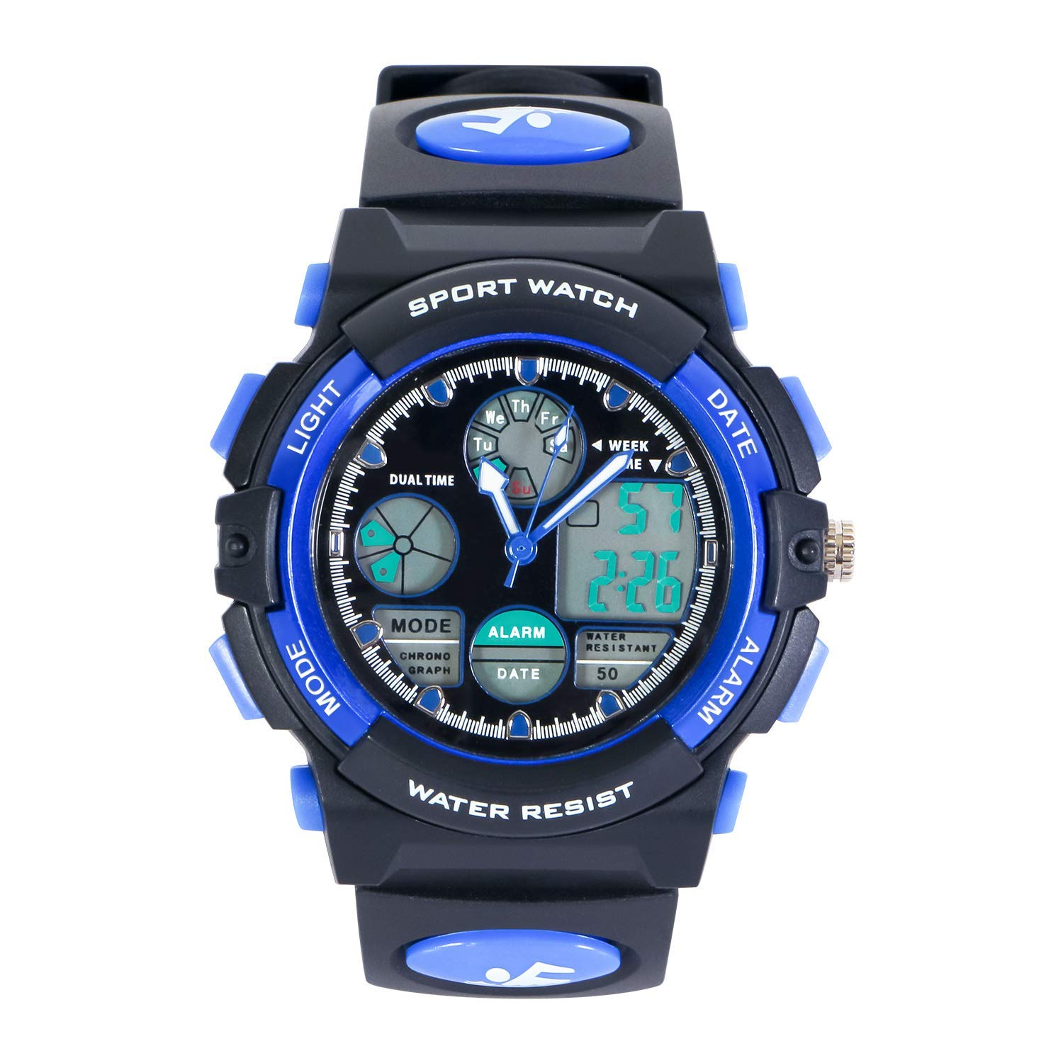 HIwatch Youth Watches Boys Girls Water-Resistant Sports Digital Wrist Watch for Teenager Students, Blue by Hiwatch