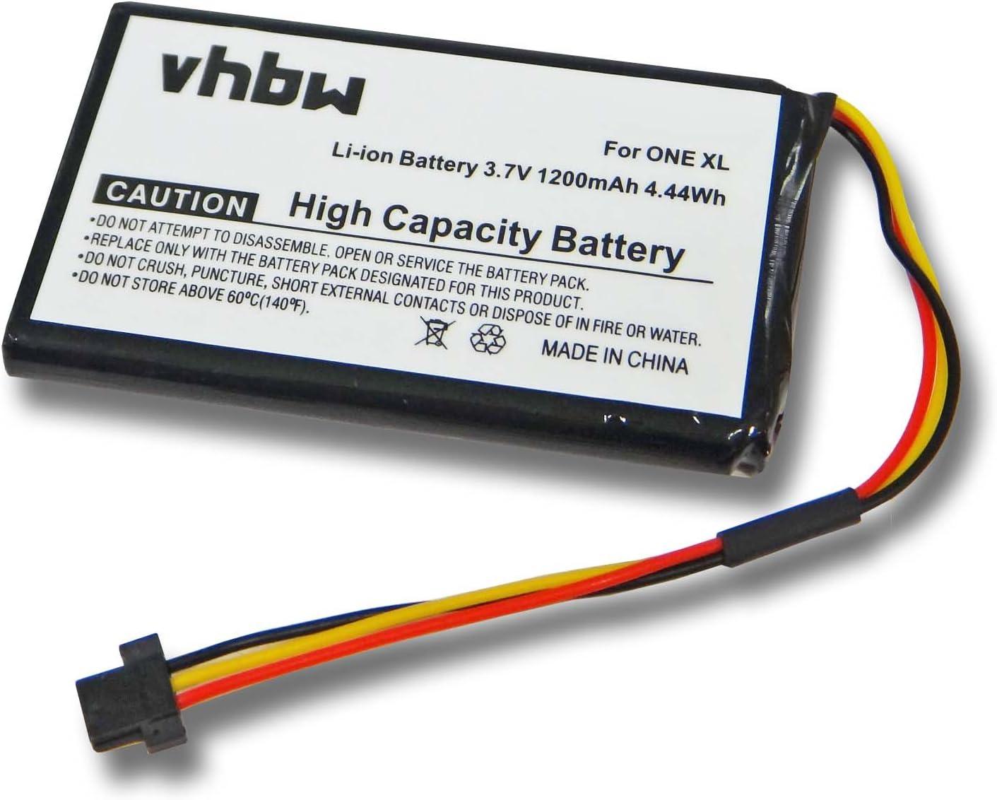 vhbw Batería Li-Ion 1200mAh (3.7V) para navegador, GPS Tomtom One XL 340, 340s, Traffic Europe, Pro 4000, V3, Series 30, Holiday, IQ, Live, XXL.