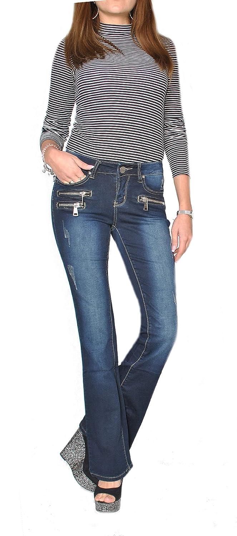 Damenjeans Schlaghose Hose Damenhose Bootcutjeans  Damen Jeans Hüfthose Boot 607
