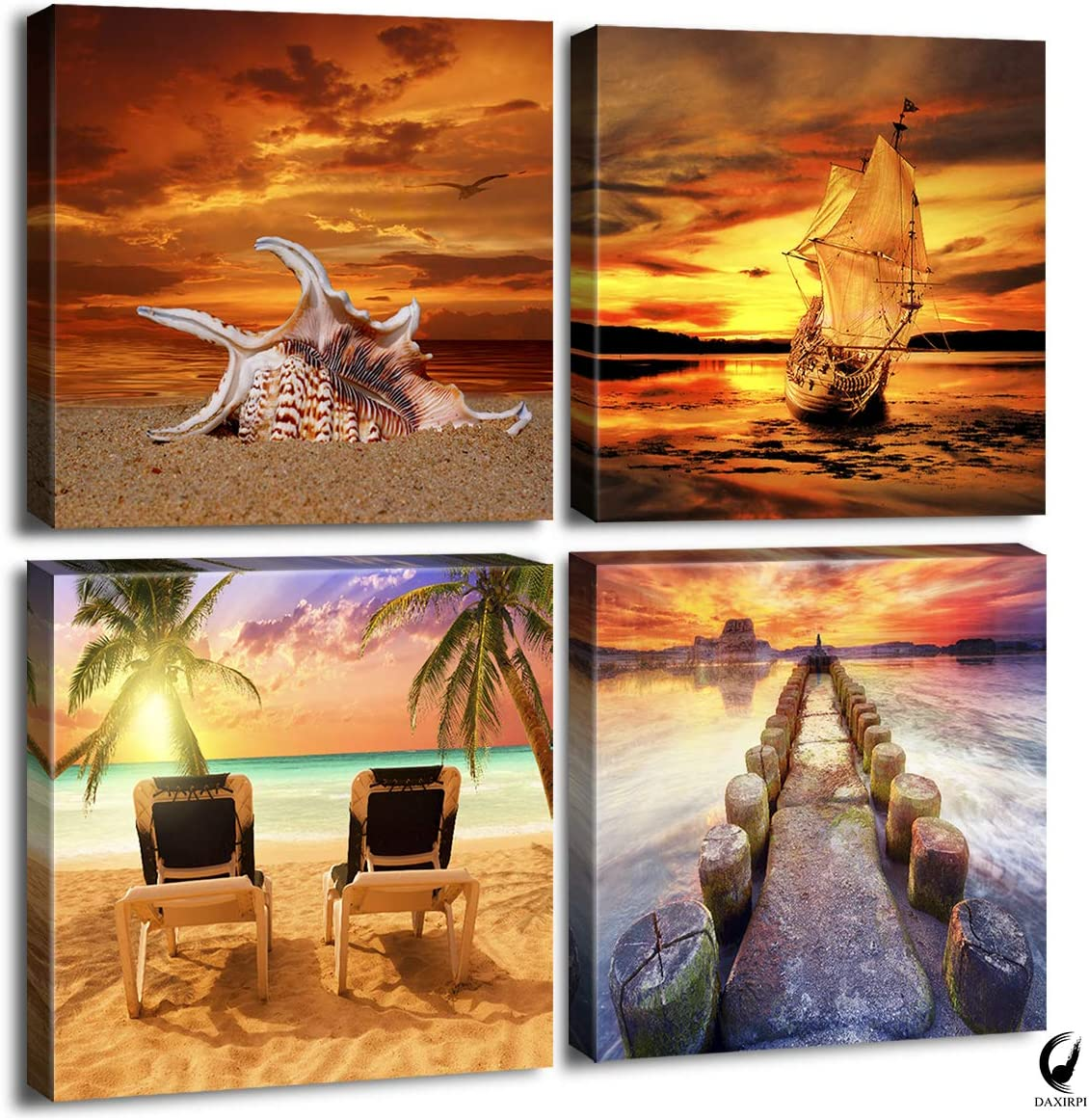 Ocean Sunset Canvas Wall Art Beach Home Decor Painting 12 x 12 x 4 Pieces Orange Seascape Canvas Art Sea Shore Nature Picture Modern Artwork Sailboat Framed Ready to Hang for Home Office Decoration