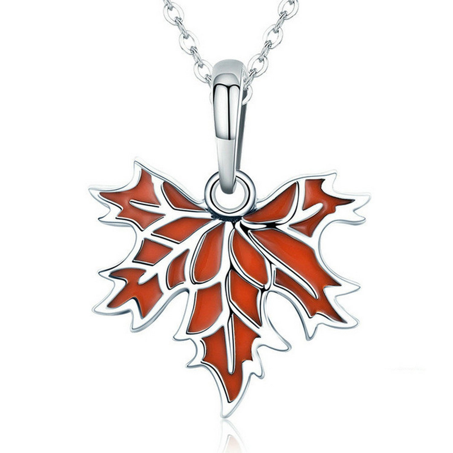 CS-DB Jewelry Silver Autumn Maple Tree Leaves Chain Charm Pendants Necklaces