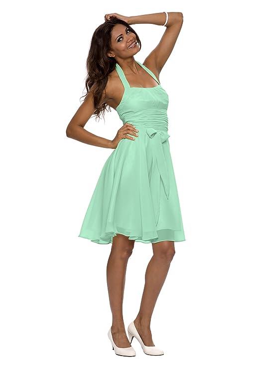 Astrapahl, Elegantes knielanges Neckholder Cocktail oder auch Abendkleid, Farbe  mint grün, Gr.38: Amazon.de: Bekleidung