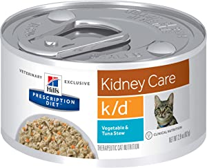Hill's Prescription Diet k/d Kidney Care Vegetable, Tuna & Rice Stew Wet Cat Food, 2.9 oz. Cans, 24 Pack