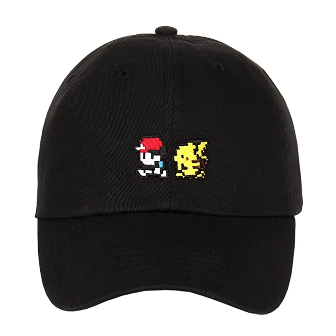 Pikachu   Ash Ketchum Embroidered Cotton Low Profile Unstructured Dad Hat  (Black) 459e87c96b23