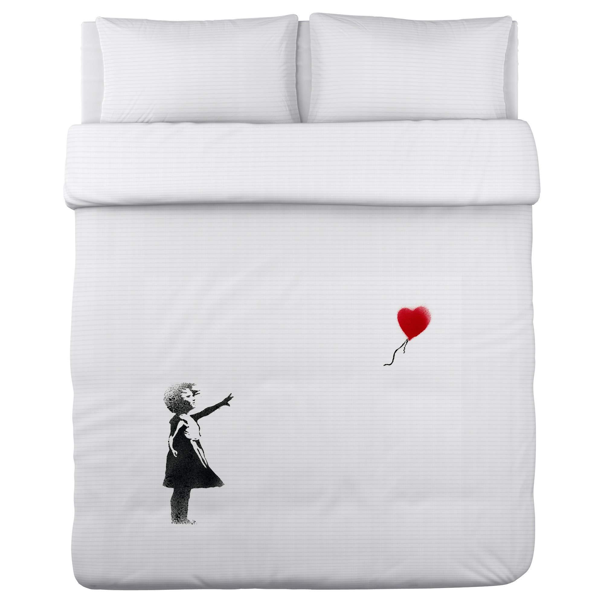 ArtFuzz Girl Chasing Heart - Black Red Duvet Cover by Banksy 104 X 88