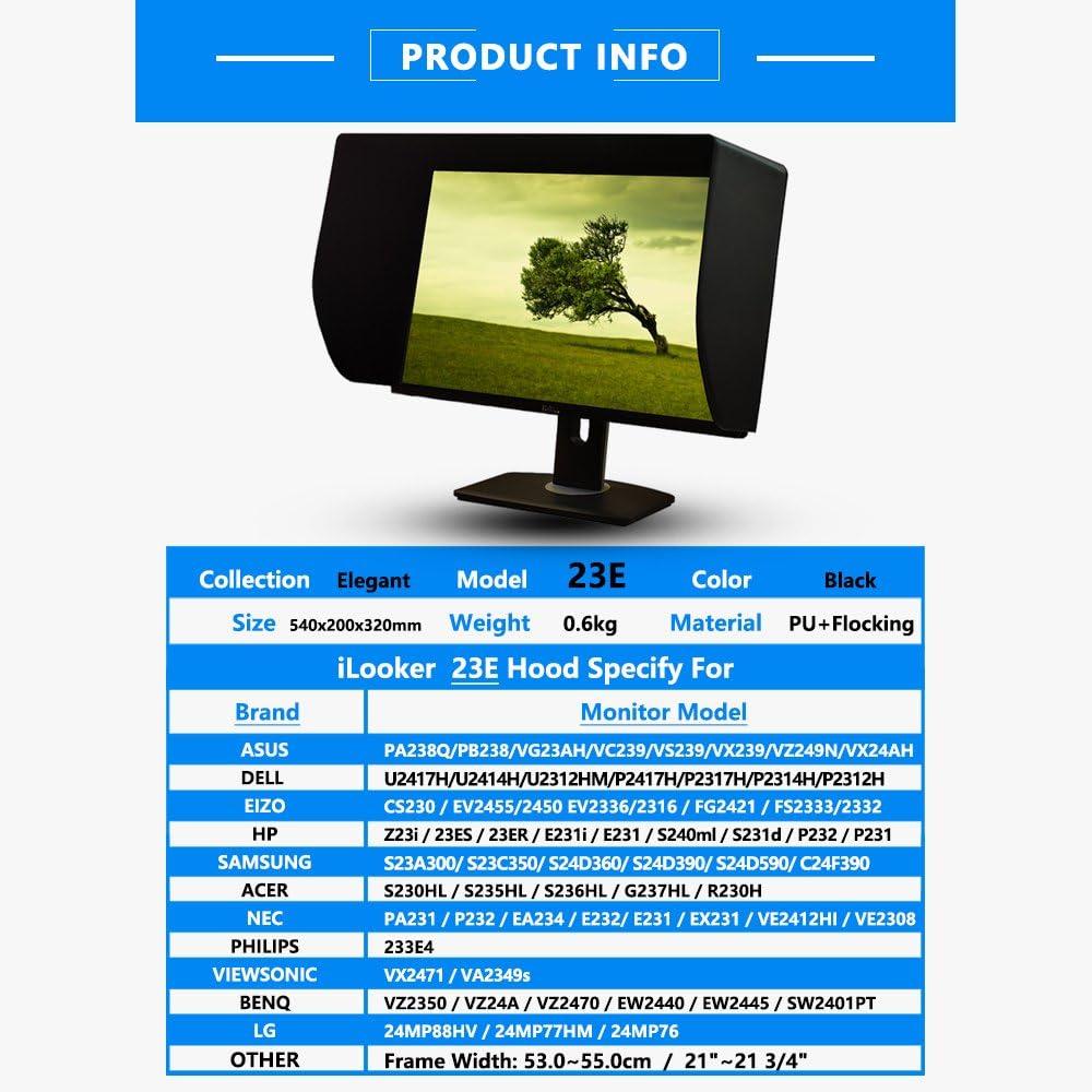 Ilooker 23e 23 24 Inch Ultr Slim Frame Lcd Led Video Monitor Hood Sunshade Sunhood For Dell