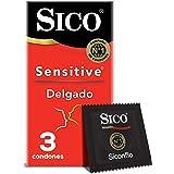 Sico Sensitive Condones de hule látex natural cartera con 3 piezas
