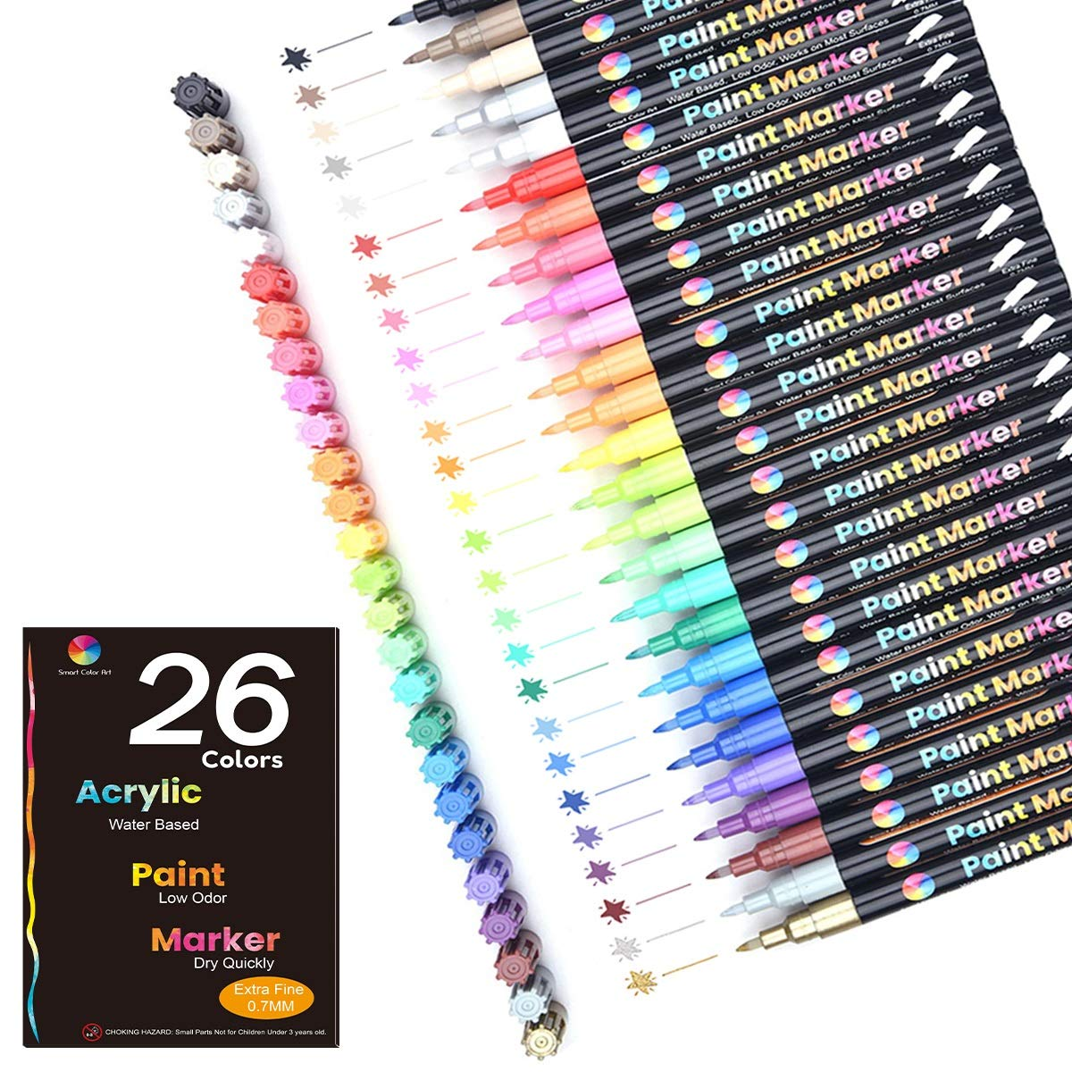 Acrylic Paint Markers,26 Colors Extra Fine Point Acrylic Paint Pens Set by Smart Color Art,Permanent Water Based, Great for Rock, Wood, Fabric, Glass, Metal, Ceramic, DIY Crafts and Most Surfaces