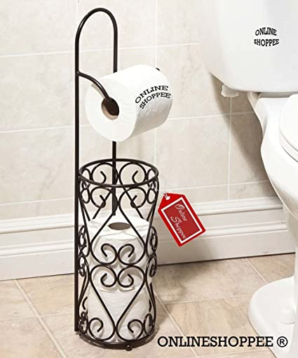 Onlineshoppee Wrought Iron Hierro Tissue Roll Dispenser for Kitchen and Toilet(Height - 56cm Diameter - 13cm, Black)