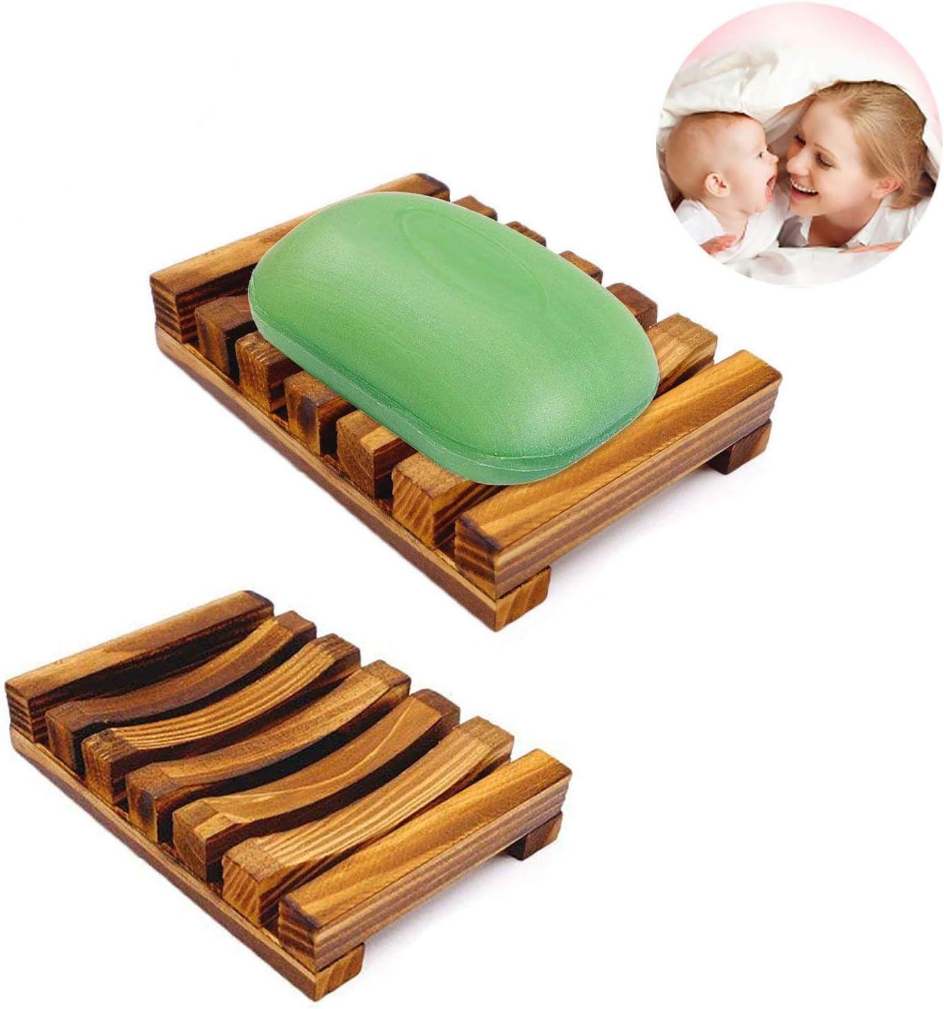 esponjas y m/ás Jabonera de madera Wood Color hecha a mano 7.9 * 12CM madera soporte de jab/ón de bamb/ú con drenaje para jab/ón