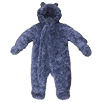 Ex Mothercare Baby Snowsuit Fluffy Grey RRP £34 Boys Girls Padded All In One