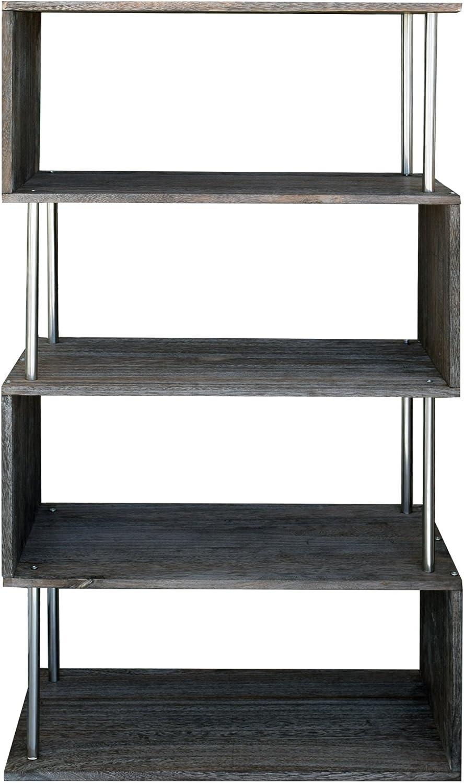 Rebecca Mobili - Estantería de Madera, estantería de 4 estantes, Moderna, de Madera Gris, para organizar Libros, CD, cómodas, Dimensiones: 126 x 66 x 33 cm (HxLxP) - Art. RE4661: Amazon.es: Hogar