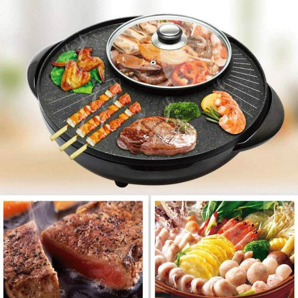 WSJTT Large Multi Cooker   Electric Frying Pan with Glass Lid,44cm Non-Stick Surface and Cool Touch Handles   Cooker Pot Electric Hot Pot Electric Barbecue Electric Baking Pan 1500W by WSJTT (Image #3)