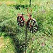 The Americana Red Bike Garden Spinner, Vintage Style Stake Decoration, Rustic Red With Antiqued Finish, 4 Feet 3 Inches Tall (130cm) By Whole House Worlds