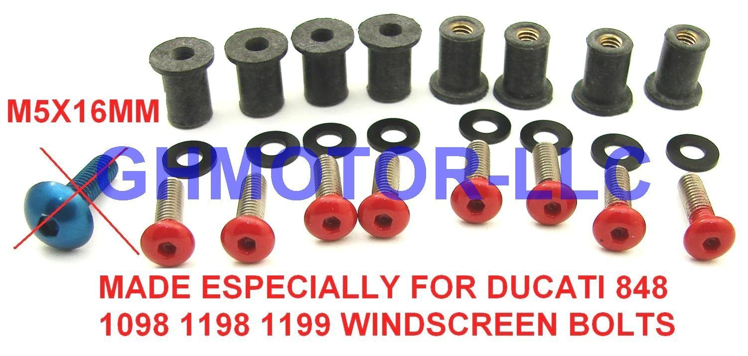 Ducati 848 1098 1198 1199 899 959 1299 SuperSport Panigale Corse V4 S R Red Windscreen Windshield Bolts Screws Kit Usa by GHMotor (Image #1)