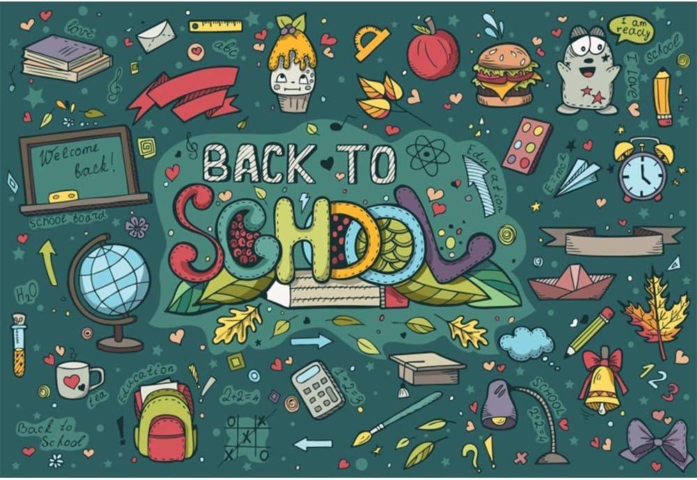 10x6.5ft Childish Back to School Backdrop Vinyl Pencil Books Globe Desk Lamp Illustration Photography Background New Semester First Day of School Students Photo Shoot Studio Props