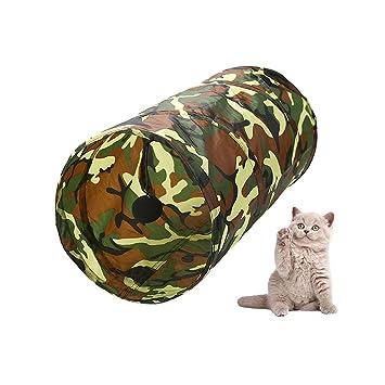 Túnel plegable para gato con pelota de juguetes para gato, cachorro, gatito, conejo y otros animales de casa pequeña (camuflaje 50 x 25 cm): Amazon.es: ...