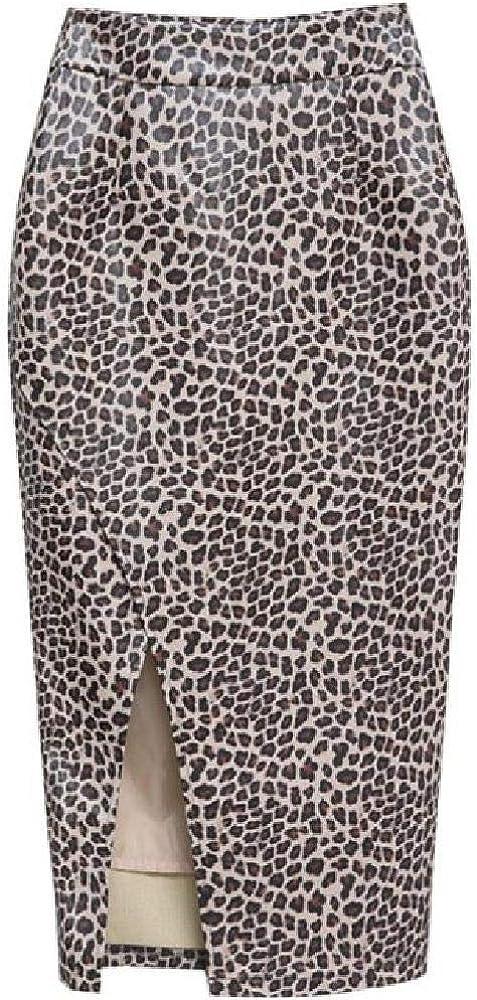 NObrand Falda de Cuero de Leopardo Nueva Cintura Alta PU Sexy Falda Dividida Lateral Mujer