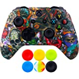 9CDeer 1 Piece of SiliconeTransfer Print Protective Cover Skin + 6 Thumb Grips for Xbox One/S/X Controller Monsters
